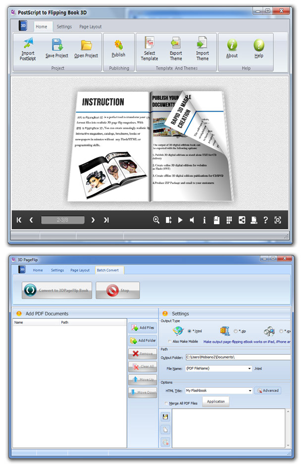 Windows 7 Flipping Book 3D for Postscript 2.8 full