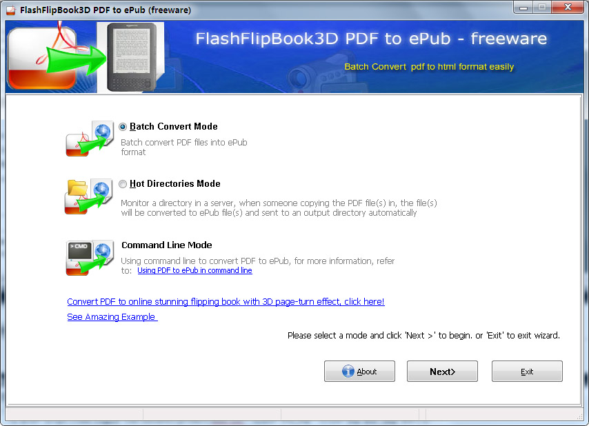FlippingBook3D PDF to ePUB  Converter (Freeware) full screenshot